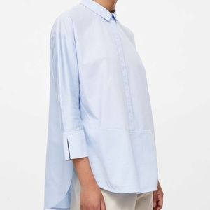 COS Poplin and Jersey Button Down Shirt in Blue